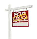 Sold For Sale Real Estate Sign with Clipping Path. Right Facing Sold For Sale Real Estate Sign with Clipping Path Isolated on White Stock Photography