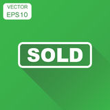 Sold seal stamp icon. Business concept sold pictogram. Vector il. Lustration on green background with long shadow Stock Image