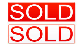 Sold Sign. Real estate sold sign isolated on white background vector illustration