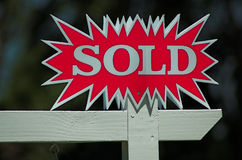 Sold Sign. Isolated Royalty Free Stock Photo