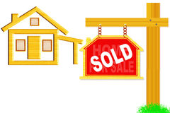 Sold sign board with post and home icon design Stock Photos