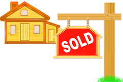 Sold sign board with post and home icon design Royalty Free Stock Image