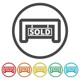 Sold sign, 6 Colors Included. Simple  icons set Royalty Free Stock Photography