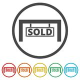 Sold sign, 6 Colors Included. Simple vector icons set Royalty Free Stock Photography