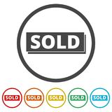 Sold sign, 6 Colors Included. Simple vector icons set Royalty Free Stock Photos