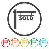 Sold sign, 6 Colors Included. Simple vector icons set Stock Photos