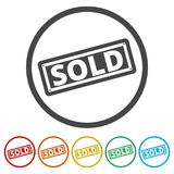 Sold sign, 6 Colors Included. Simple vector icons set Stock Photography