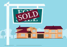 Sold sign in front of cute house in flat building style. background with blue pastel colors. country views with trees Royalty Free Stock Photography