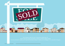 Sold sign in front of cute houses in flat building style. background with blue pastel colors. country views with trees Stock Images