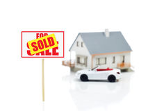 Sold sign and house model and car.jpg Royalty Free Stock Photos