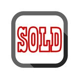 Sold Sign, icon with long shadow Royalty Free Stock Photo