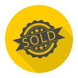 Sold sign, icon with long shadow Stock Photo