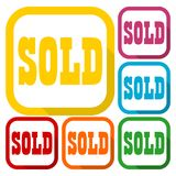 Sold Sign, icons set with long shadow Royalty Free Stock Photography