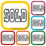 Sold Sign, icons set with long shadow Stock Image