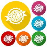 Sold sign, icons set with long shadow Stock Photo