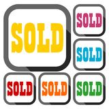 Sold Sign, icons set with long shadow Stock Images