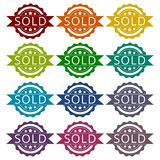 Sold sign, icons set Stock Photography