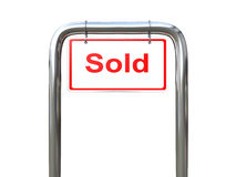 A Sold sign other angle. A white Sold sign on a metal pipe Royalty Free Stock Photography