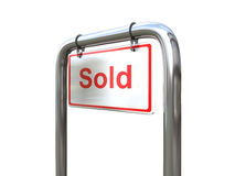 A Sold sign over white angled. A white Sold sign on a metal pipe Royalty Free Stock Photo