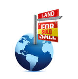 Sold sign on planet Earth illustration. Design over white Royalty Free Stock Photo