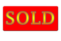 Sold Sign - Yellow and Red. Red SOLD sign in gold and orange letters on a red background royalty free illustration
