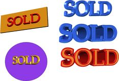 Sold signs in 3d. Sold signs in blue red and old in 3d on white Royalty Free Stock Images