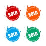 Sold grunge vector icon. Sold splattered grunge vector circles icons set Royalty Free Stock Photography