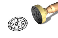 Sold stamp. On paper - a 3D model Stock Photos