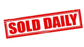 Sold daily. Stamp with text sold daily inside,  illustration Royalty Free Stock Photos