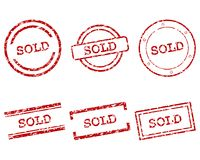 Sold stamps. Detailed and accurate illustration of sold stamps stock illustration