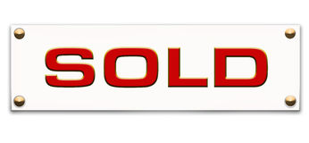 Sold tag. Sale tag or label with the word sold on it Royalty Free Stock Photo