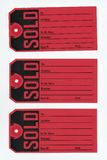 Sold tag. Red Sold tags on white background stock photography