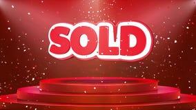 Sold Text Animation Stage Podium Confetti Loop Animation stock illustration