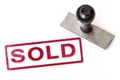 Sold text stamp Stock Image