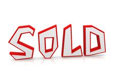 Sold word with reflection ground Stock Photography