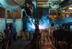 Solda dos robôs Imagem de Stock