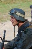 Soldado alemán con el lanzallamas Foto de archivo libre de regalías