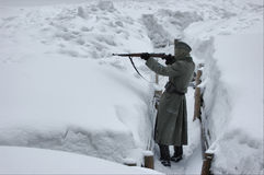 Soldado alemán de WW2.Winter Imagen de archivo libre de regalías