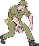 Soldado American Grenade Cartoon de la Segunda Guerra Mundial Foto de archivo libre de regalías