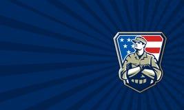 Soldado americano Arms Folded Flag retro Imagen de archivo libre de regalías