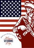 Soldado americano moderno Card del día de veteranos ilustración del vector