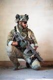 Soldado americano que descansa de la operación militar Foto de archivo libre de regalías