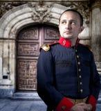 Soldado antiguo, hombre con el traje militar Foto de archivo libre de regalías