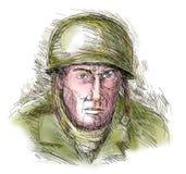 Soldado arenoso de la Segunda Guerra Mundial Imagen de archivo