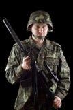 Soldado armado que comprende m16 Imágenes de archivo libres de regalías