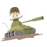 Soldado asiático de la historieta en un tanque Imagenes de archivo