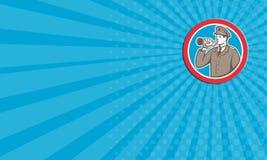 Soldado Blowing Bugle Circle do cartão retro Imagens de Stock