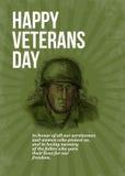 Soldado Card Sketch del día de veteranos de la Segunda Guerra Mundial stock de ilustración