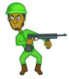 Soldado com desenhos animados da metralhadora Imagens de Stock Royalty Free
