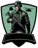 Soldado com rifle ilustração stock